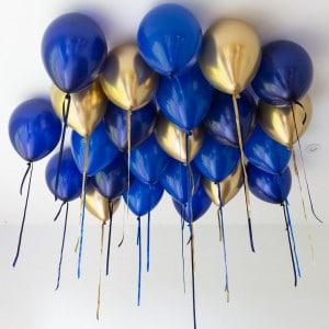 Шары под потолок 25 штук Синий и Золото Хром