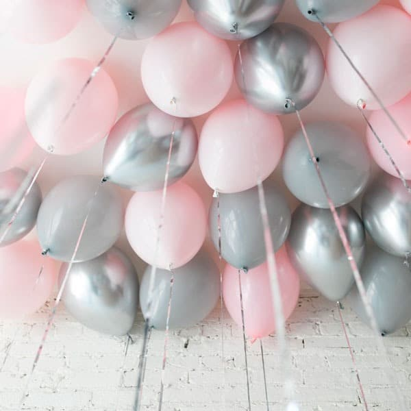 Шары под потолок 25 штук Розовый Серый и Серебро Хром