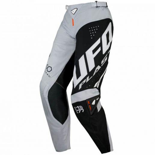 UFO Slim Frequency Pants Gray/Black/Neon Orange штаны для мотокросса и эндуро, серо-черные