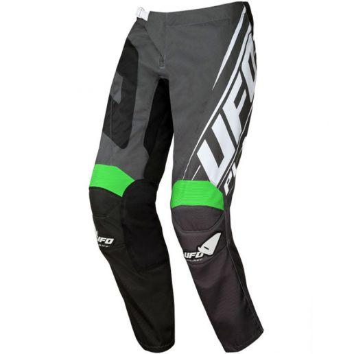 UFO Vanadium Pants Black/Neon Green штаны для мотокросса и эндуро, черно-серые