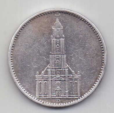 5 марок 1934 Германия D Мюнхен XF Кирха