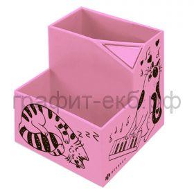Подставка настольная Феникс+ Коты розовая 2 отделения 8,4х8,4х9,3см 56563