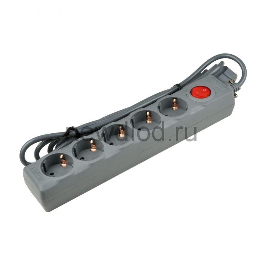 Cетевой фильтр S-GSU5-3 GREY серии Universal 3м (Пвс 3*0,75) 5 гн с/з 10А защита от перенапр и кз