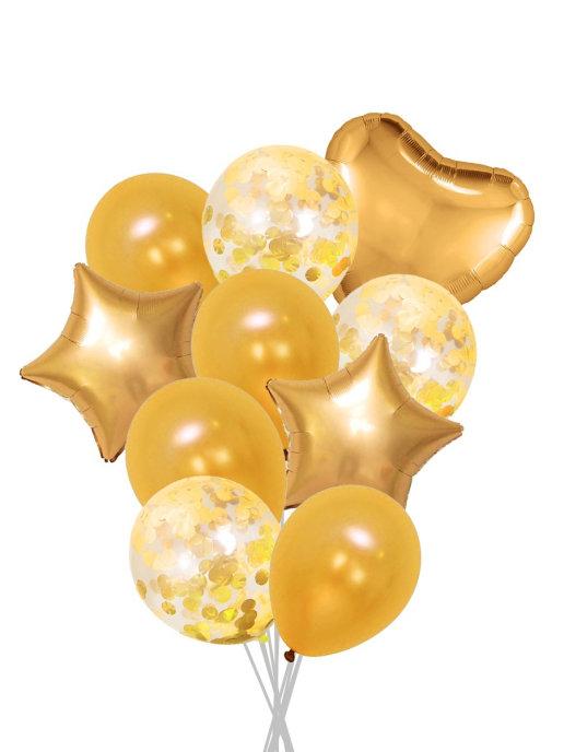 Набор шаров 10 шт,   золотистый