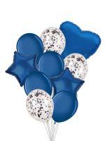 Набор шаров 10 шт,  серебро, синий