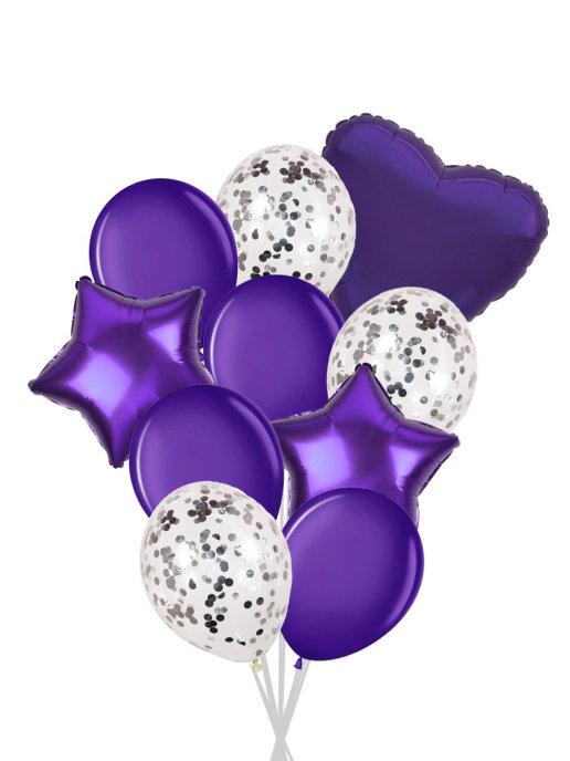 Набор шаров 10 шт,  серебро, фиолетовый