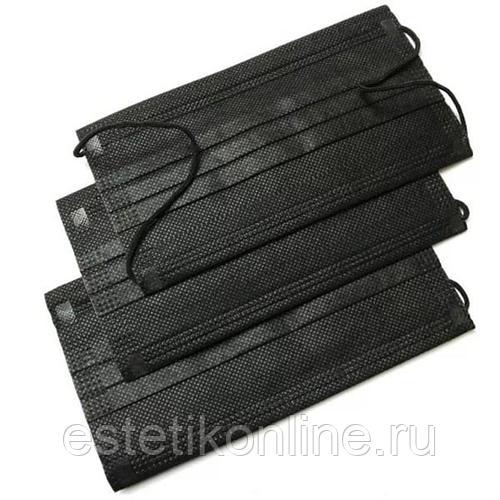 Маска трехслойная на резинках Черная 50 шт