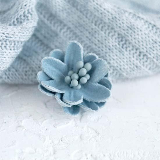 Лотос плотный тканевый, голубой, 2 см.