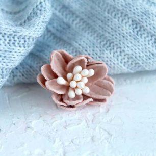 Лотос плотный тканевый, персиковый, 2 см.