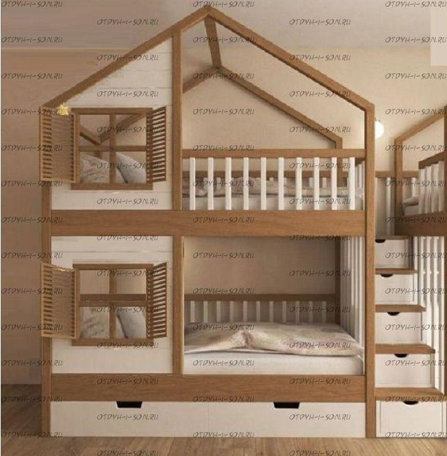 Кровать двухъярусная, Кровать-домик Roof №5А