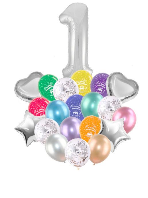 Воздушные шары набор «С Днем Рождения» с цифрой 1 серебро