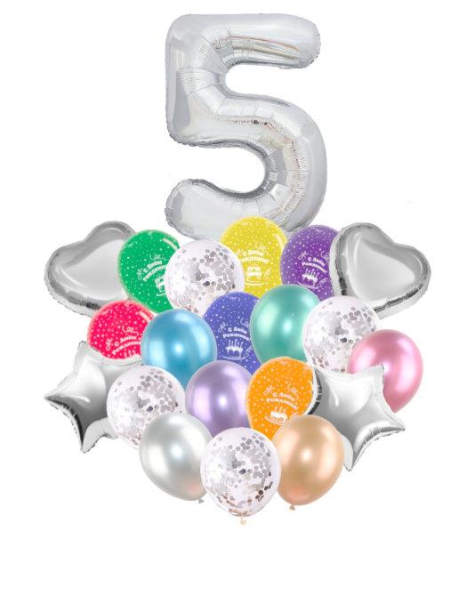 Воздушные шары набор «С Днем Рождения» с цифрой 5 серебро