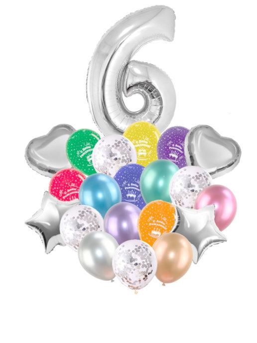 Воздушные шары набор «С Днем Рождения» с цифрой 6 серебро