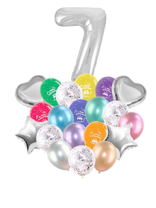 Воздушные шары набор «С Днем Рождения» с цифрой 7 серебро
