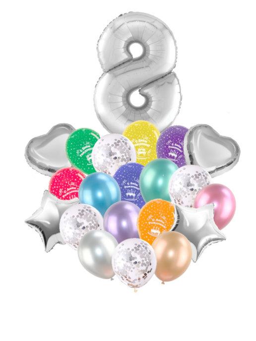 Воздушные шары набор «С Днем Рождения» с цифрой 8 серебро
