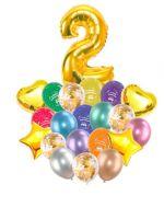 Воздушные шары набор «С Днем Рождения» с цифрой 2 золото