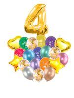 Воздушные шары набор «С Днем Рождения» с цифрой 4 золото