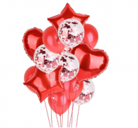 Цветные  гелиевые шары фонтан красный с конфетти