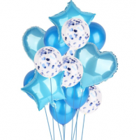 Шары  с гелием, фонтан голубой, 14 шаров