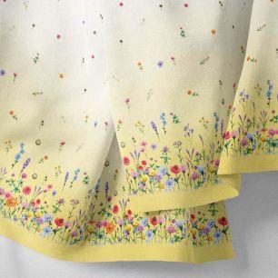 Хлопок Перкаль - Бордюр Полевые цветы на желтом 25*75