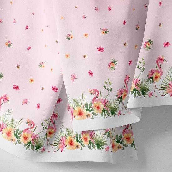 Хлопок Перкаль - Бордюр Розовый фламинго 25*75