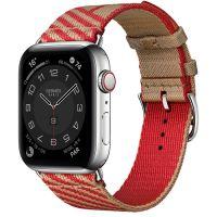 Apple Watch Hermes Series 6 40mm Stainless Steel GPS + Cellular Boîtier en acier inoxydable argent, Bracelet Simple Tour Jumping Kraft/Rouge de Cœur