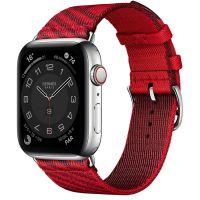 Apple Watch Hermes Series 6 40mm Stainless Steel GPS + Cellular Boîtier en acier inoxydable argent, Bracelet Simple Tour Jumping Rouge de Cœur/Rouge H