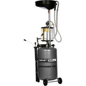 KRW1839.70L Установка для слива и откачки масла/антифриза с подъемной ванной и мерной емкостью, мобильная, объем 70 л KraftWell