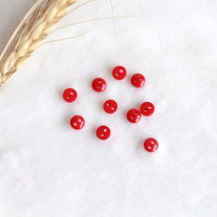 Набор мини пуговиц для творчества, Сочный красный, 10 шт., 5 мм.