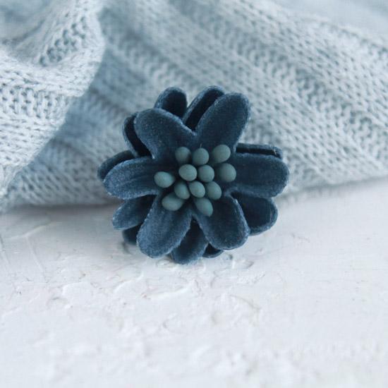 Лотос плотный тканевый, синий, 2 см.