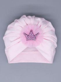 00-0027013  Чалма трикотажная для девочки, бант из фатина, корона, светло-розовый