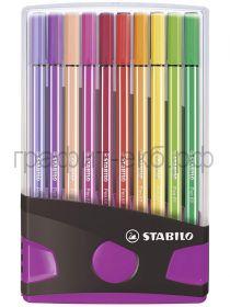 Фломастеры 20цв.Stabilo PEN 68 ColorParade пластиковый футляр антрацит/розовый 6820-04-03