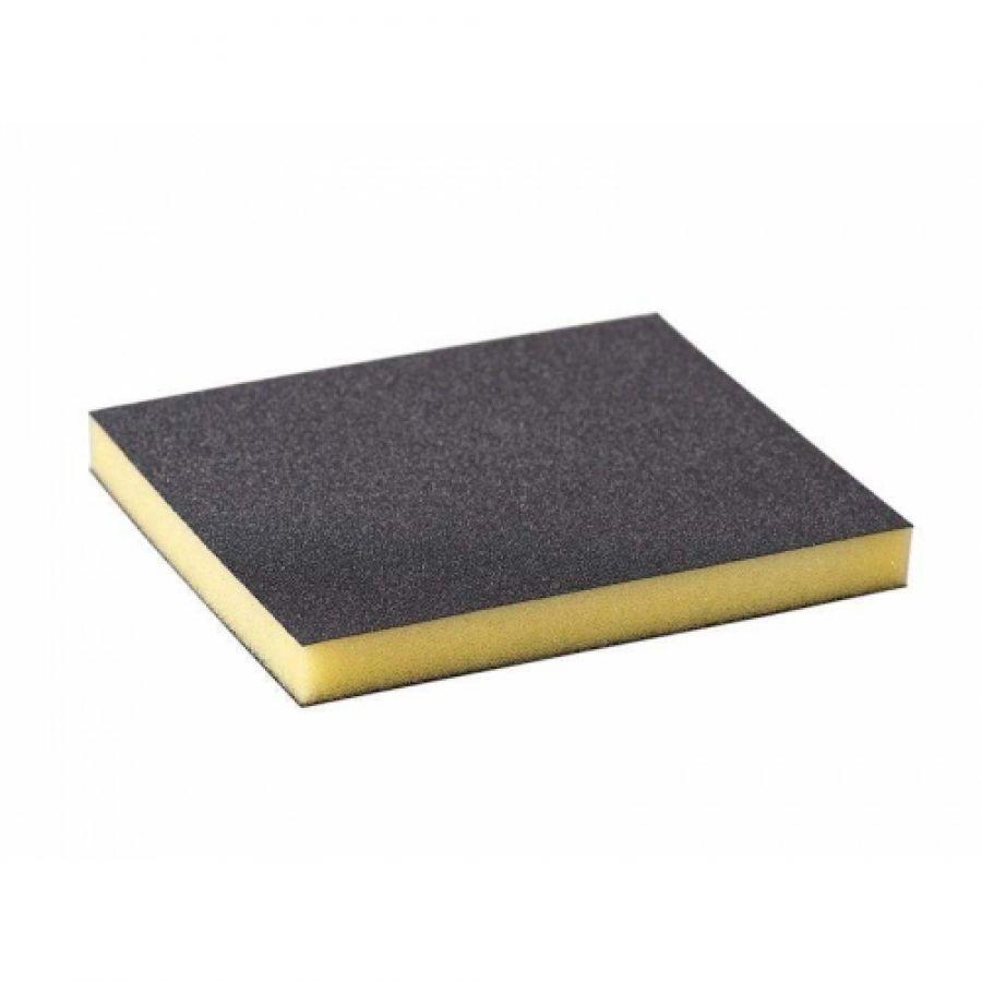 Р500 Siasponge flax pad Абразивная губка двусторонняя 98х120х13 мм, (Желтая)