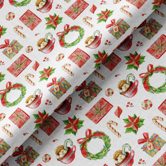 Хлопок Перкаль Рождественские угощения на белом 50х37