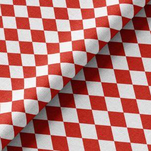 Хлопок Перкаль - Красно-белые ромбы 50х37