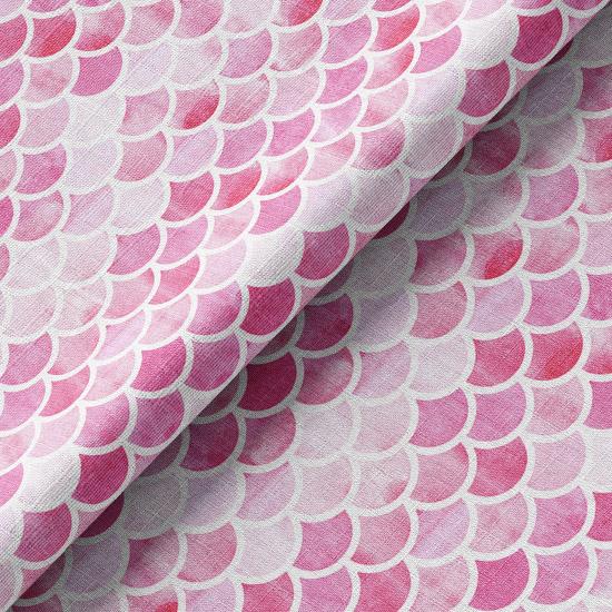 Хлопок Перкаль - Чешуйки на розовом 50х37