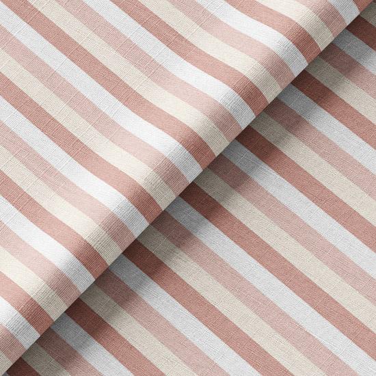 Хлопок Перкаль Кораллово-розовые полосочки 50х37