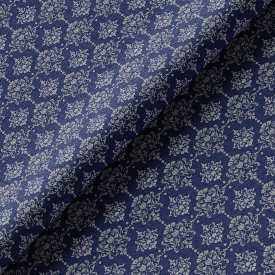 Хлопок Перкаль Винтажный узор на синем 50х37