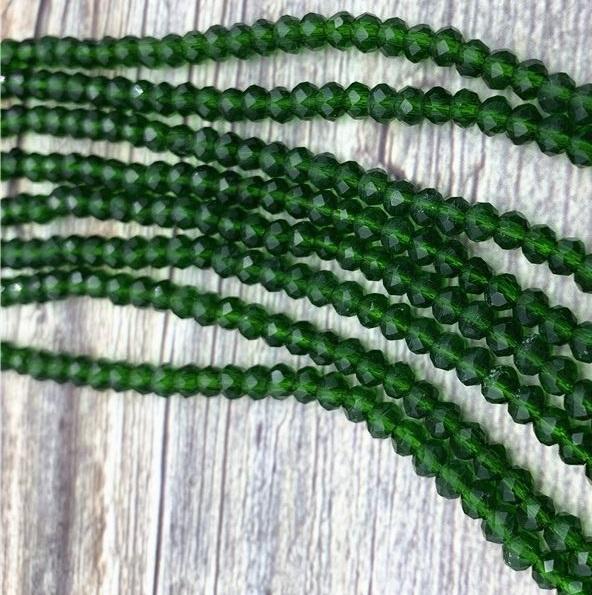 Бусины граненые Рондель (стекло) на нити цвет № 12 зеленый лесной Разные размеры (LSR-12)