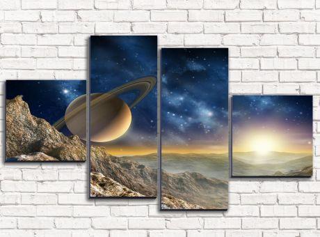 Модульная картина На дальней планете