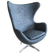 Кресло EGG CHAIR черный матовый с эффектом  состаренная кожа