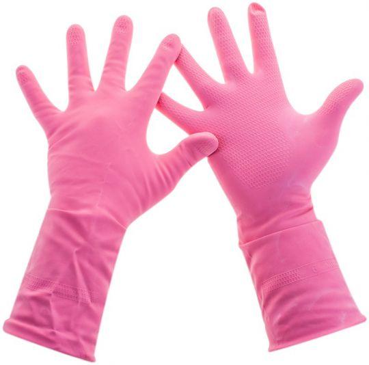 Универсальные резиновые перчатки Frida розовые размер L 222620