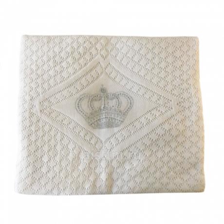 Одеяло-плед вязанный КОРОНА СО СТРАЗАМИ, наполнитель 100г