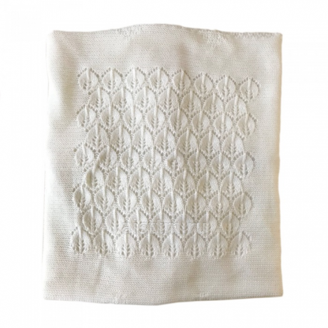 Одеяло-плед вязанный ЛИСТОЧКИ, наполнитель 100г