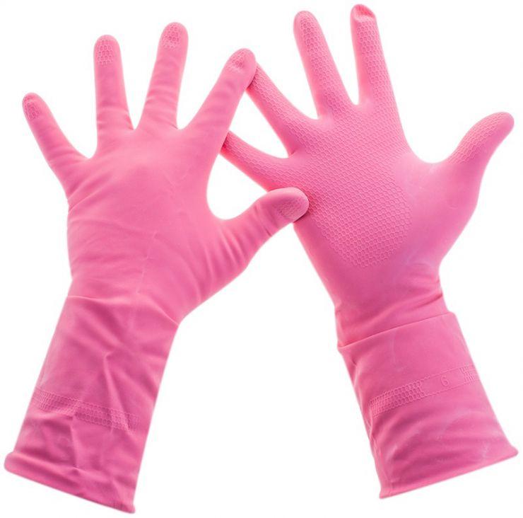 Универсальные резиновые перчатки Frida розовые размер M 222610