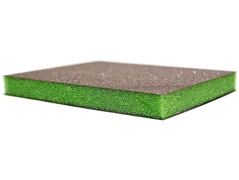 Р600 Siasponge flax pad Абразивная губка двусторонняя 98х120х13 мм, (Зеленая)