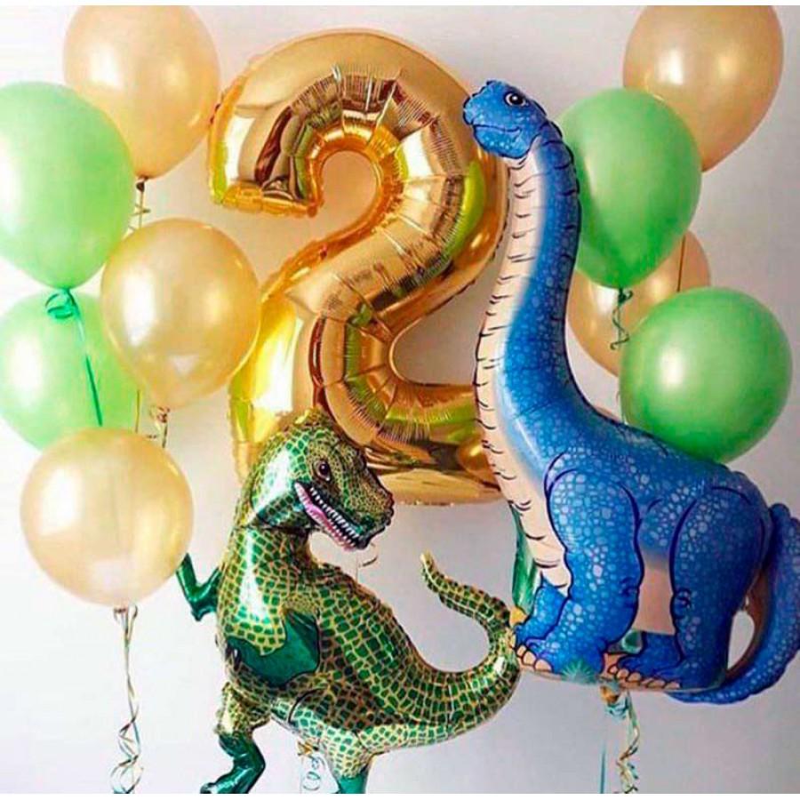 Композиции из шариков Динозавры с цифрой