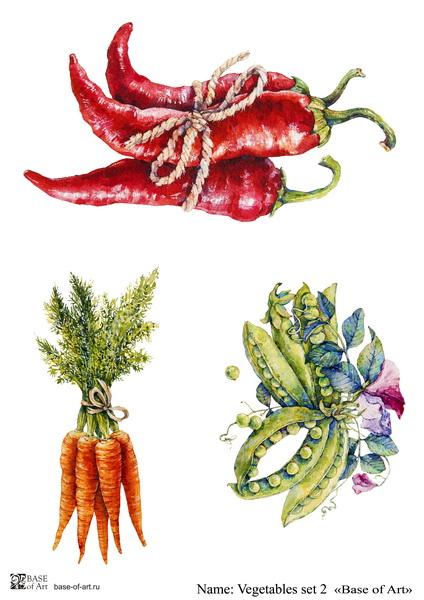 Декупажная карта Base of art, 20*30 см, Vegetables set 2