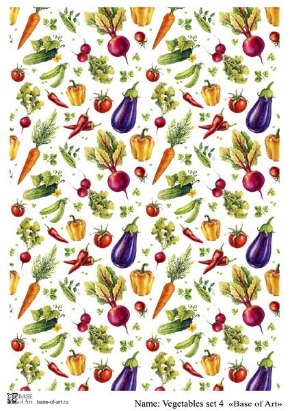 Декупажная карта Base of art, 20*30 см, Vegetables set 4
