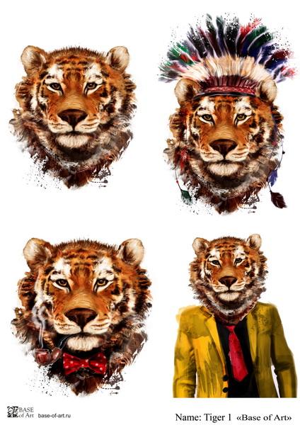 Декупажная карта Base of art, 20*30 см, Tiger 1